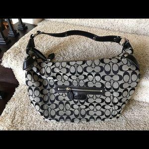 Coach Black Signature Canvas Leather Shoulder Bag